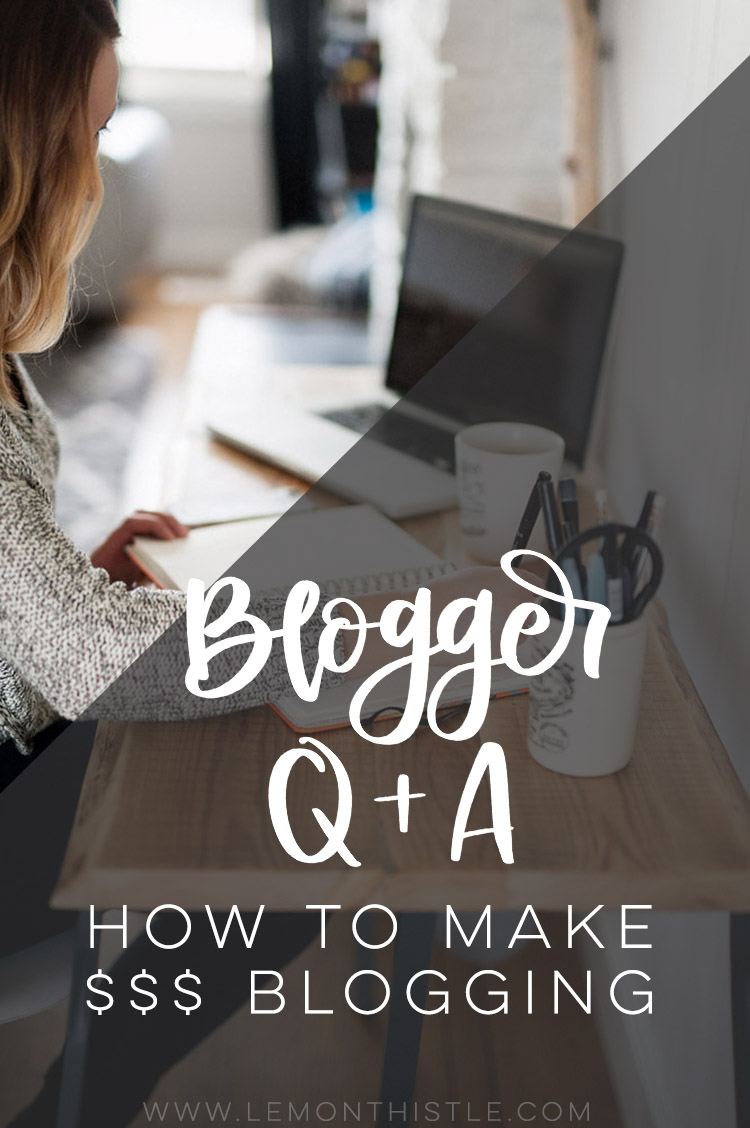 Image working at desk with text overlay: Blogger Q&A How to make money blogging