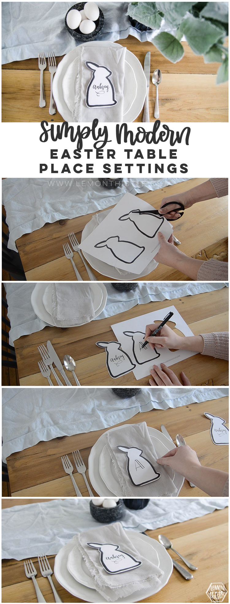Long image showing steps to make your own easter bunny cut out place cards
