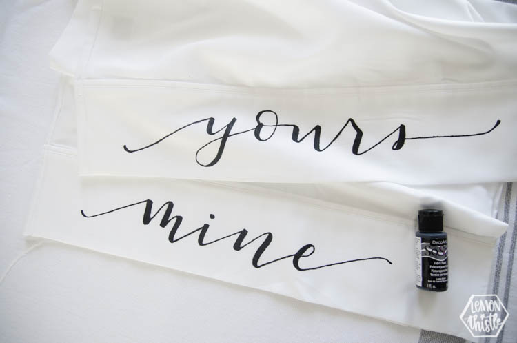 Mine and Yours pillow cases with DecoArt So Soft Fabric Paint in Black