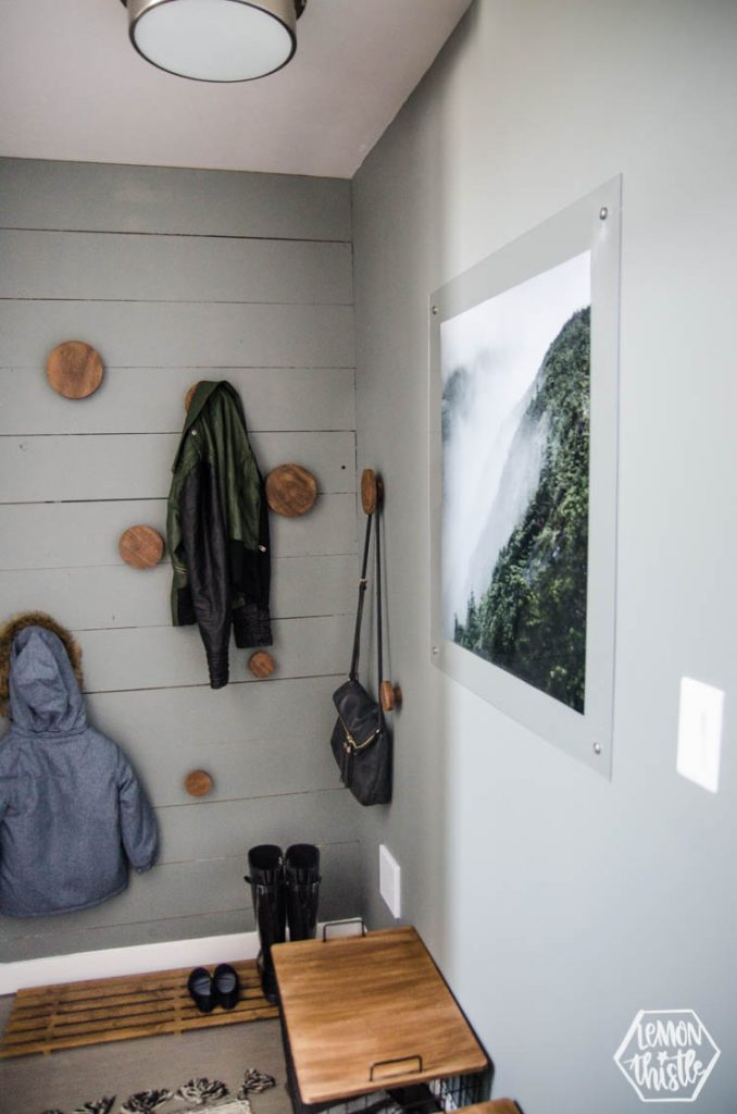 modern grey and wood DIY Mini Mudroom Makeover in a split level entry home