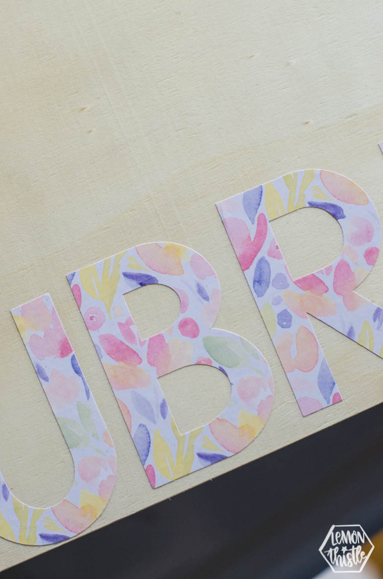 Floral Watercolour Patterned Letters on Printable Vinyl