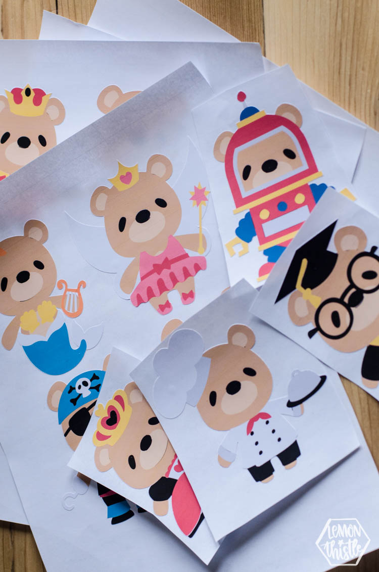 Cute little bear character decals out of printable vinyl