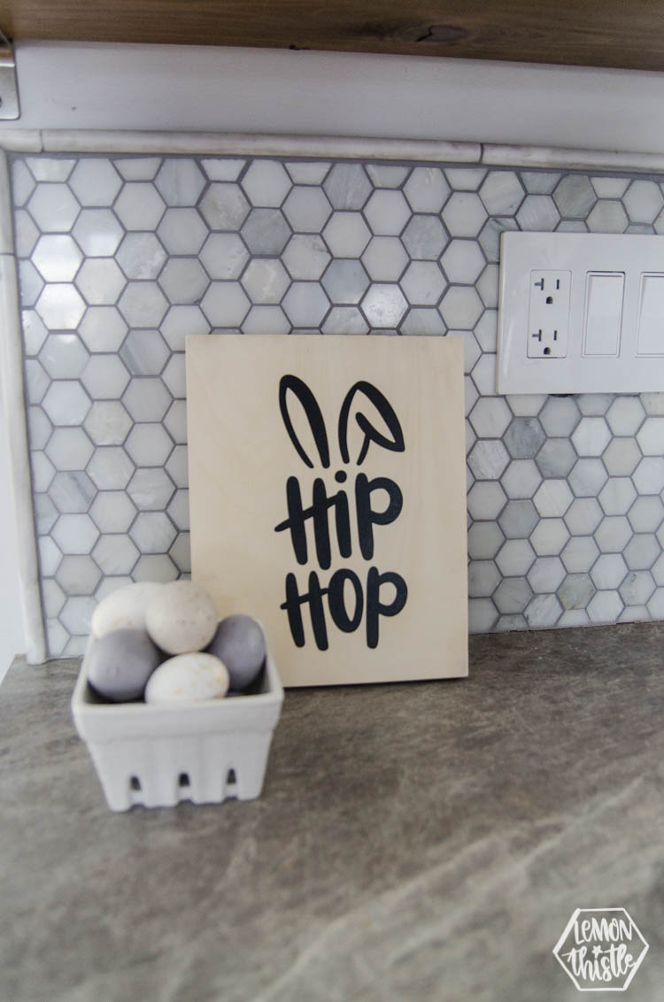 Wooden canvas Easter sign reads hip hop with bunny ears