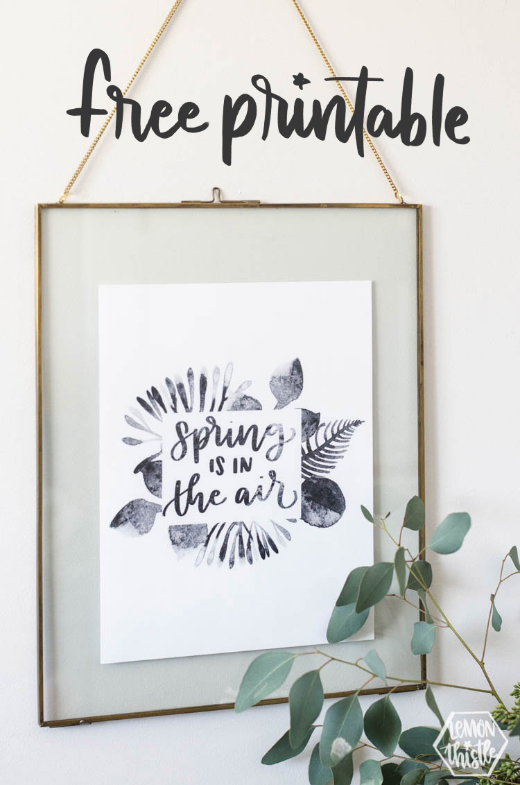 spring is in the air black watercolour art in floating frame with text overlay: free printable