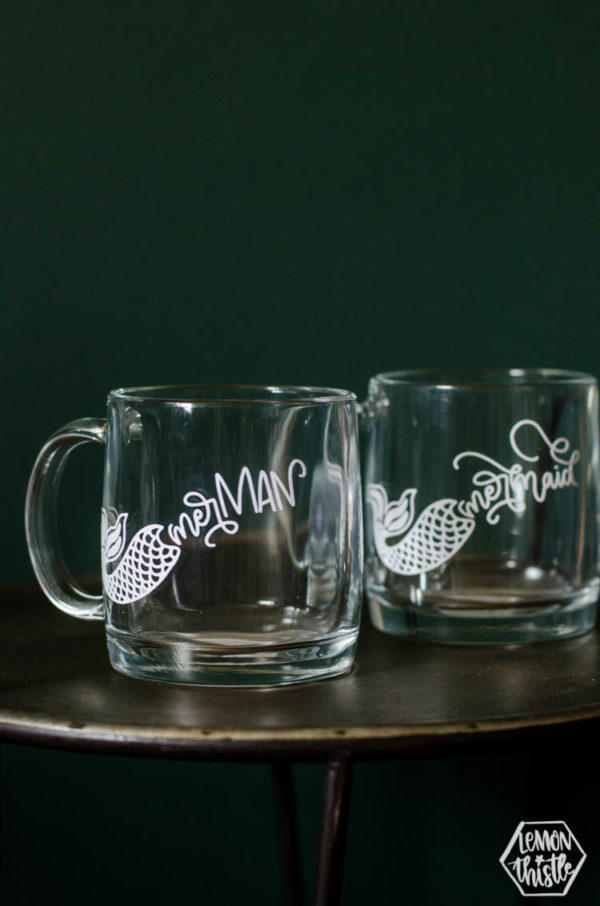 Glass merman mug with white design