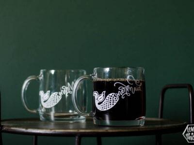Glass mermaid mug- DIY clear glass mug with white lettering using vinyl