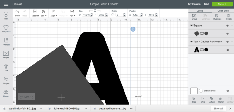 Screen capture- how to overlay a square on letter to slice into two colors