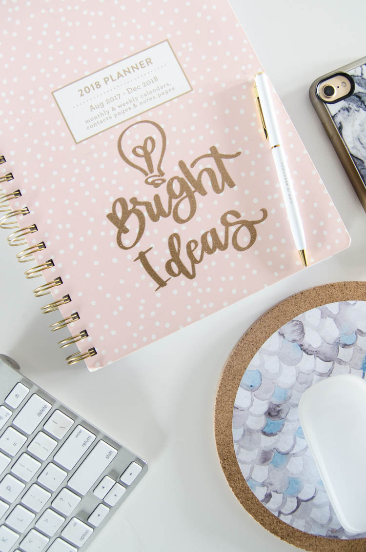 Bright Ideas hand lettering on notebook- cut with glitter vinyl