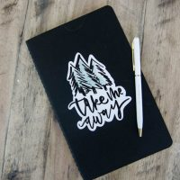 Take Me Away Vinyl Decal on Notebook- how to cut your own lettering out using Cricut