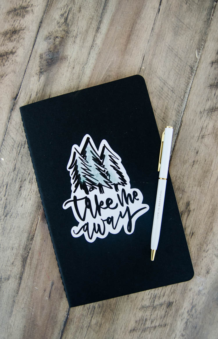 Take me away notebook: How to upload your own JPG image for print then cut with Cricut