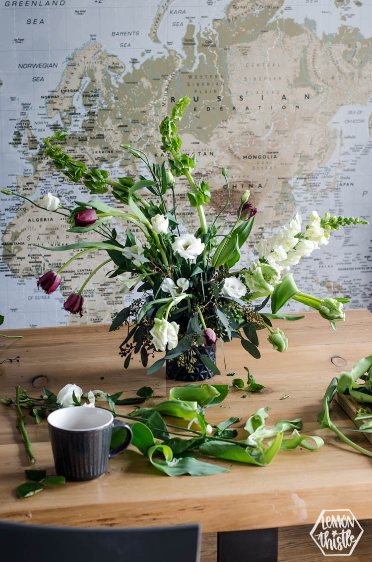 floral arrangement in the making