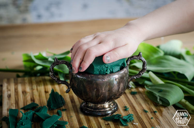 Push Floral Foam Snugly into vase or vessel