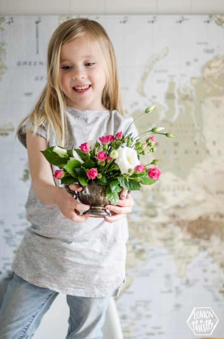 vintage tin for floral arrangement
