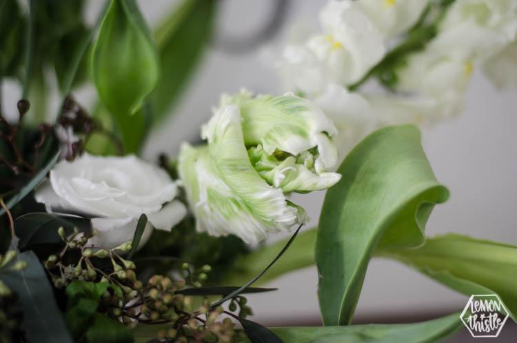 Parrot tulips in modern floral arrangement using floral foam