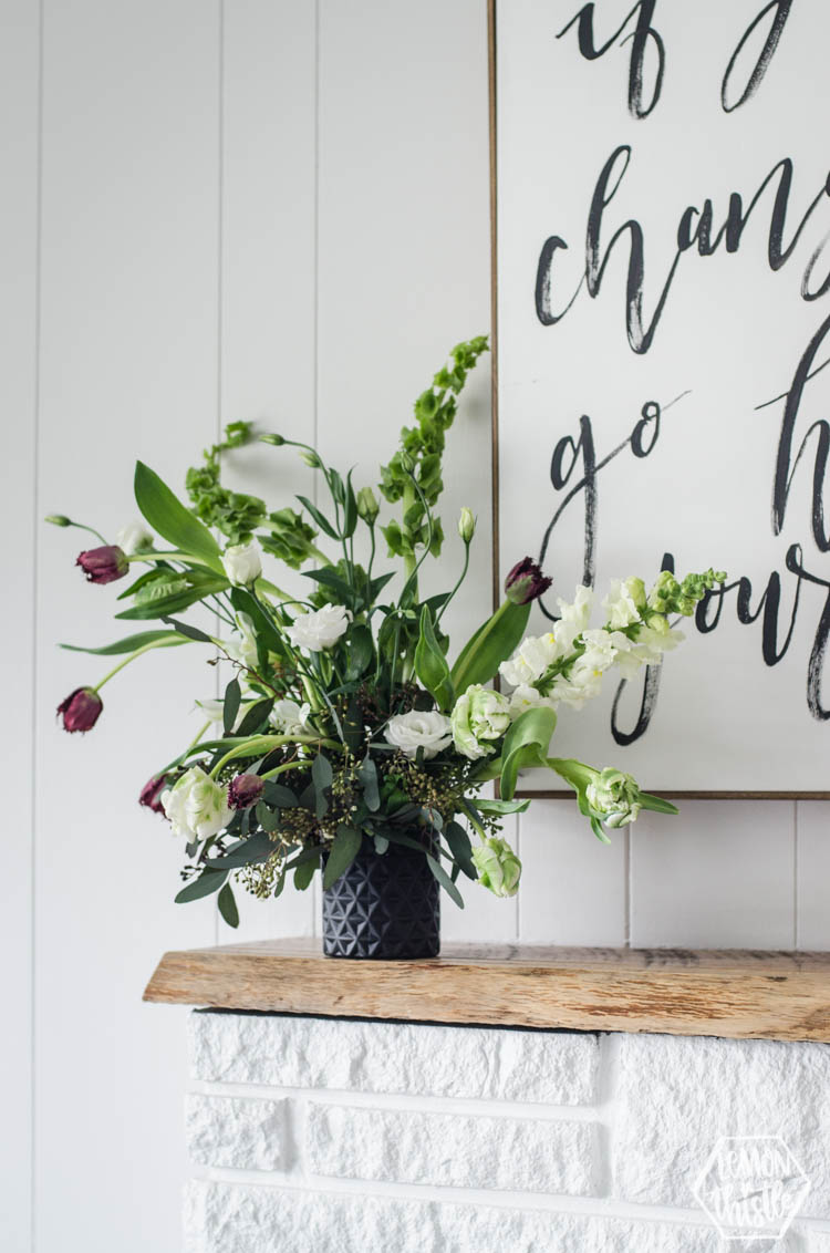 I love this Wild Flower Arrangement with bells of ireland and tulips! Great tips on modern florals using floral wet foam