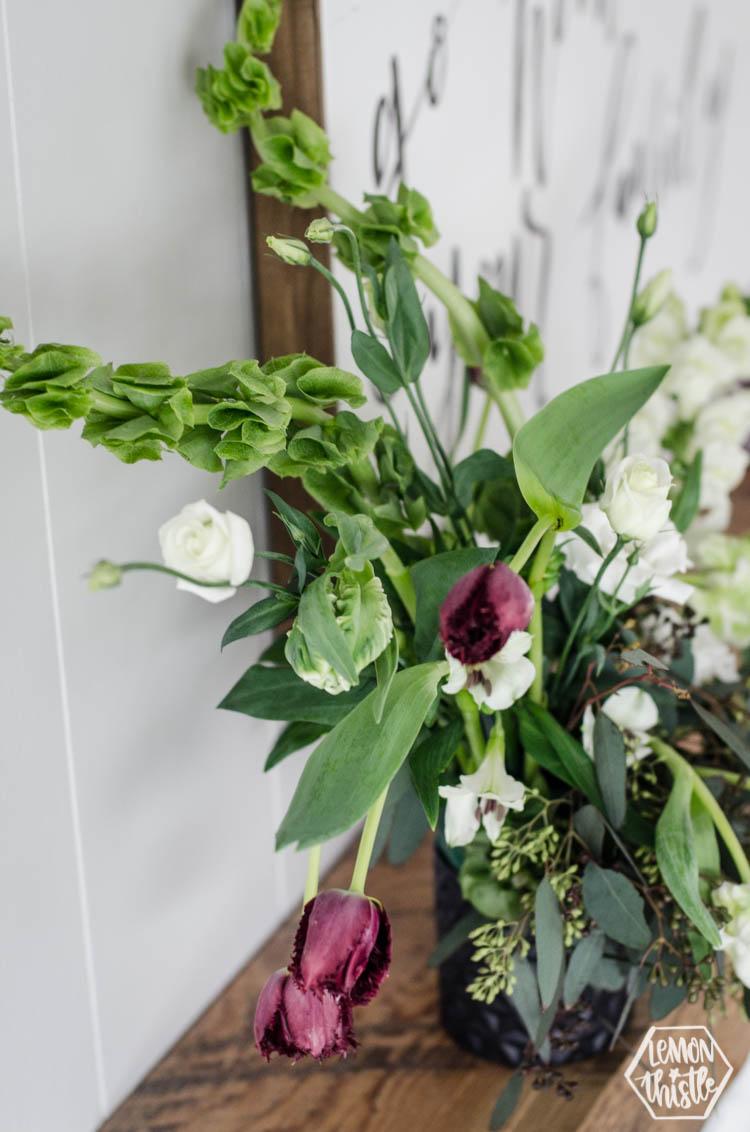 Wild Flower Arrangement with bells of ireland and tulips