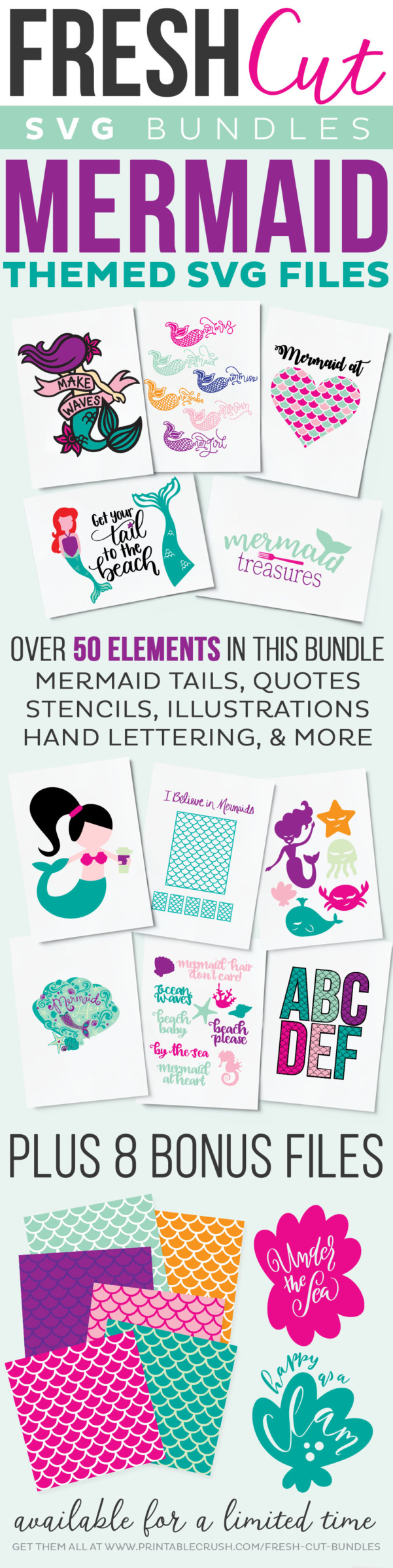 Mermaid themed Fresh Cut SVG Bundle collage of designs