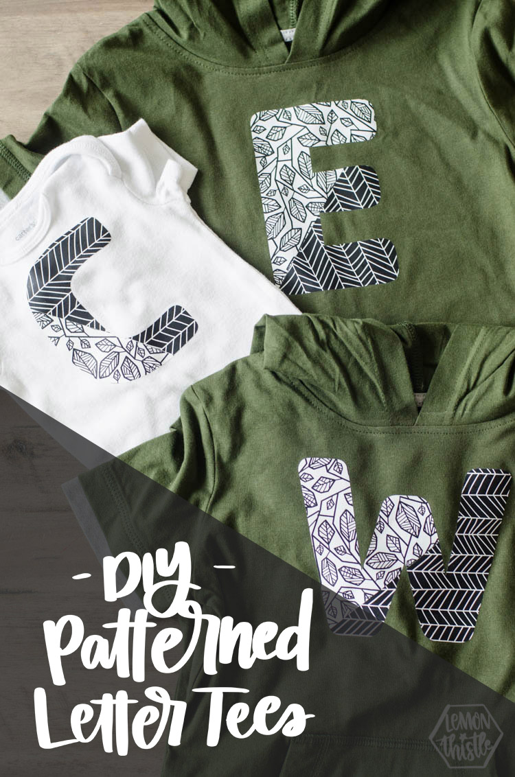 Three patterned monogram tshirts with text overlay: DIY Patterned Letter Tees