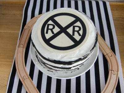Easy Striped Cake With Railroad Cake Topper | Train Party Cake