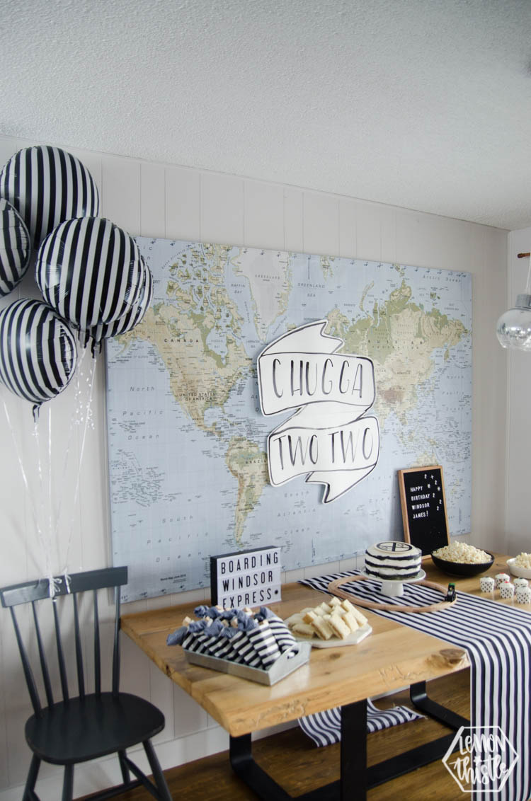 black and white stripes for a modern train theme party