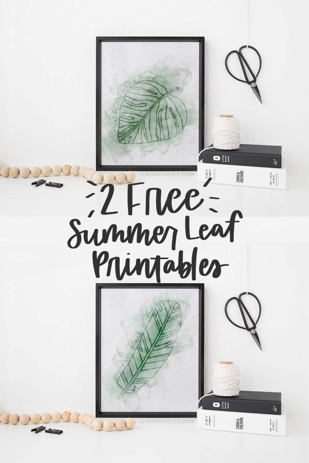 2 free summer leaf printables with text overlay