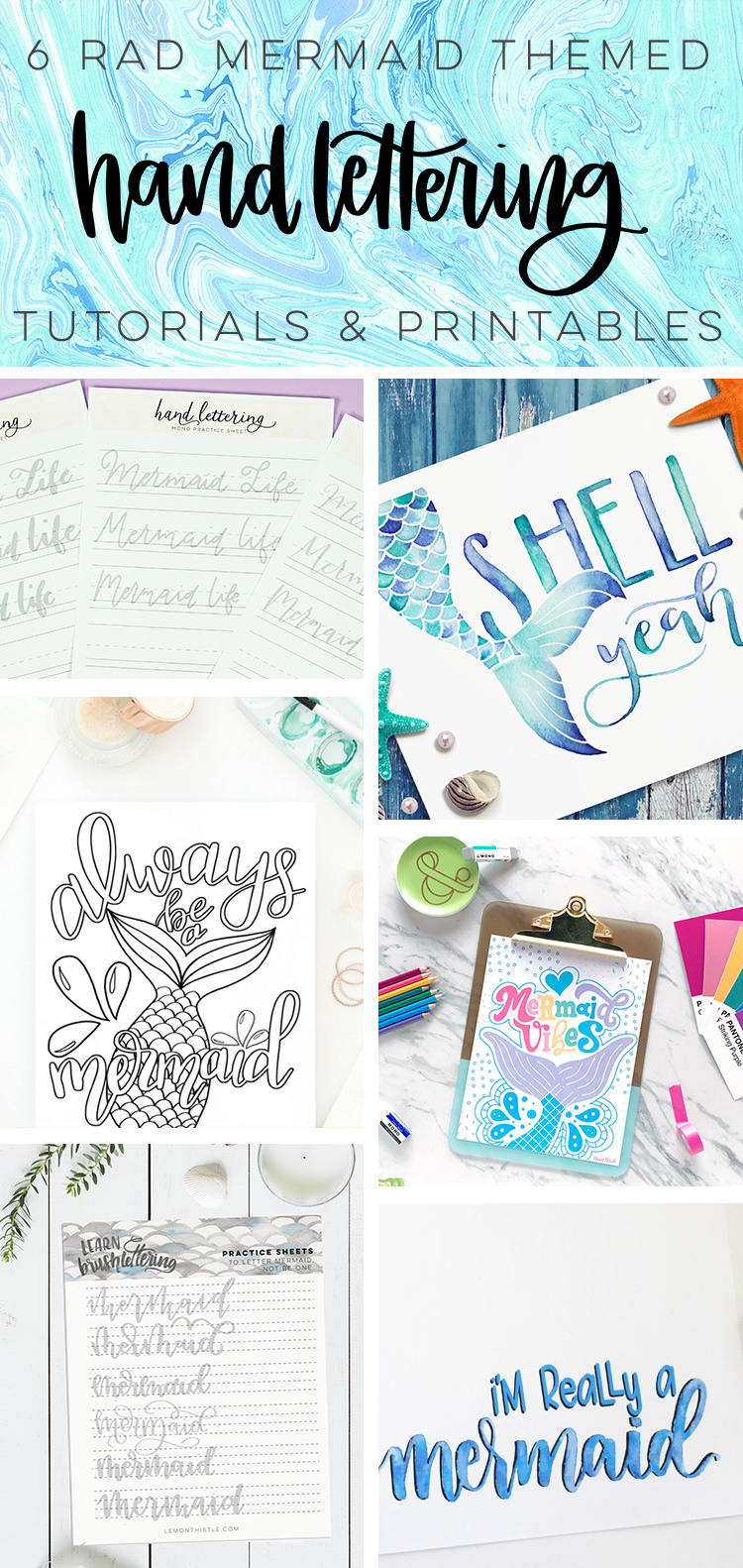 Mermaid Hand Lettering Practice Sheet Printable - Lemon Thistle