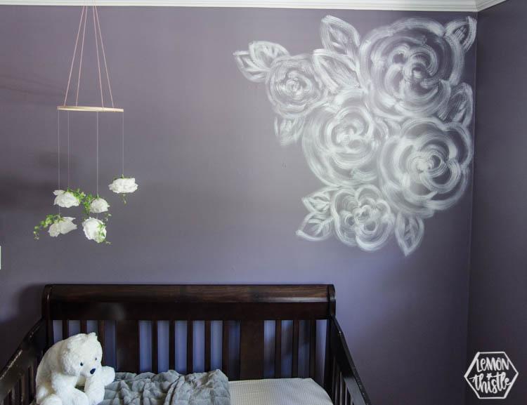 DIY Brush Stroke Floral Mural for a Nursery