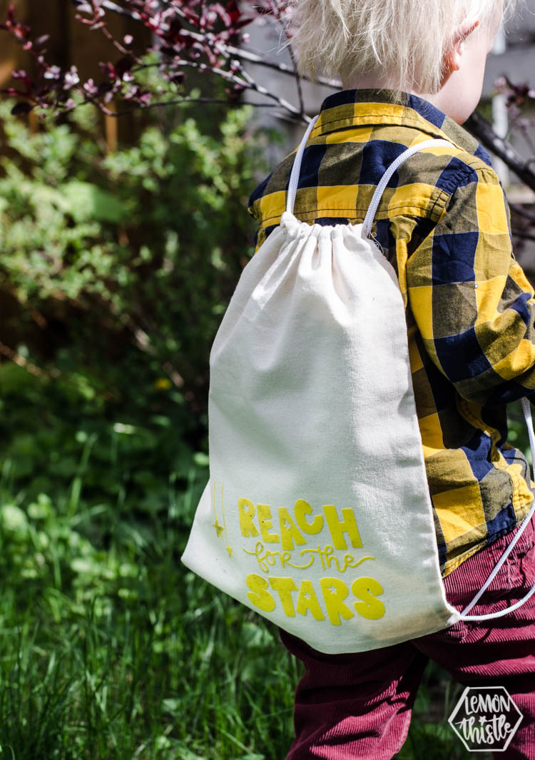 Reach for the stars drawstring backpack