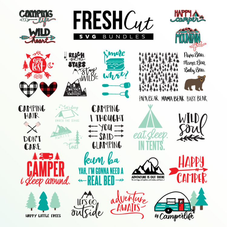 Camping themed Fresh Cut SVG Bundle collage of designs