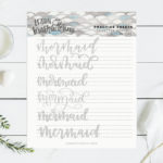 Mermaid Hand Lettering Practice Sheet Printable