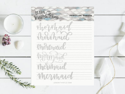 Free printable practice sheet for hand lettering 'mermaid'
