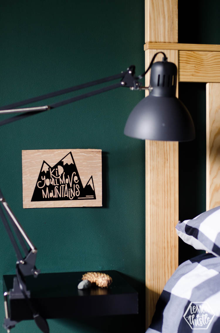 DIY Wood Veneer Sign - Kid You'll Move Mountains