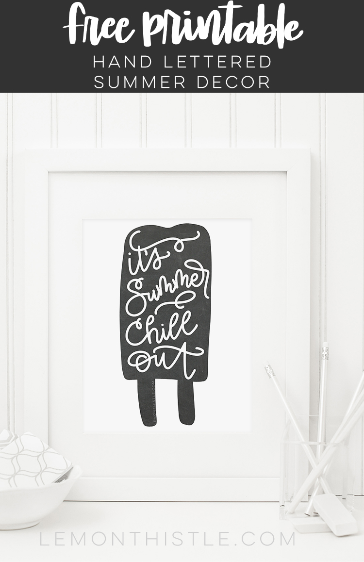 sweet summer printables!- hand lettering on a popsicle