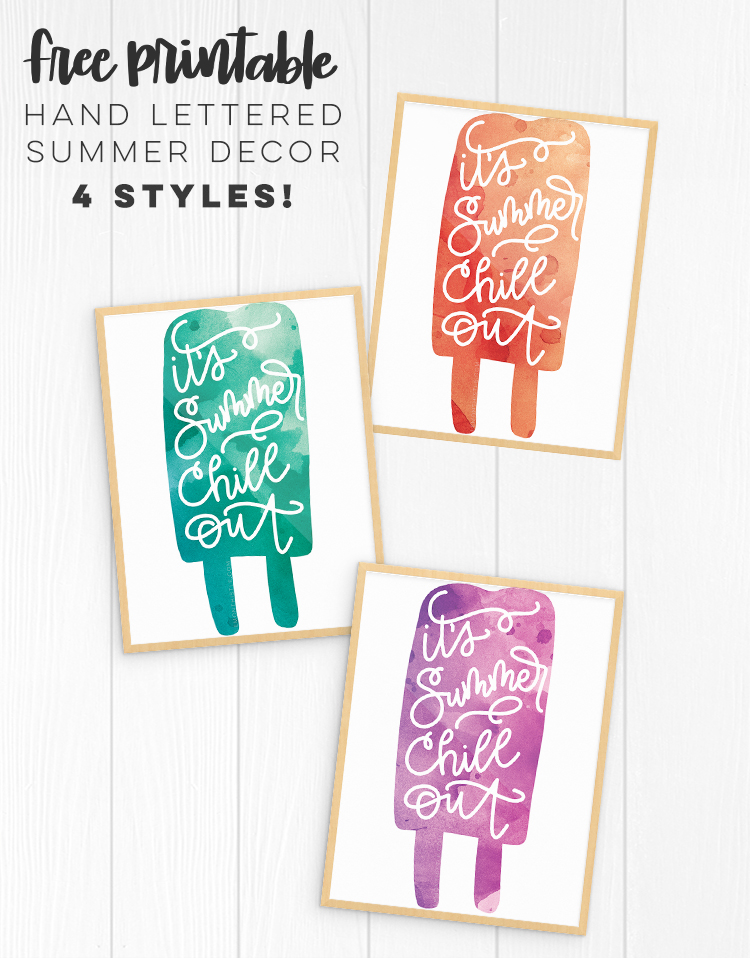 3 summer popsicle prints with hand lettered, 'it's summer, chill out'