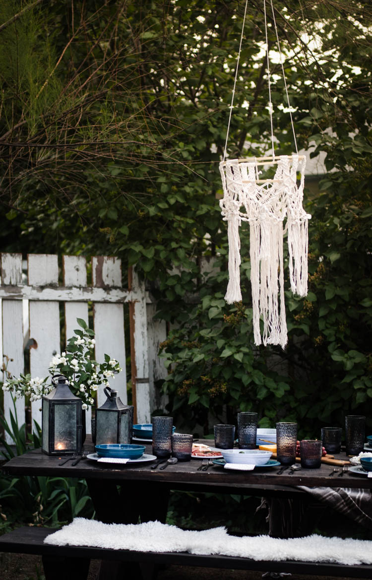 Boho Summer Tablescape with diy macrame chandelier (and instructions!)