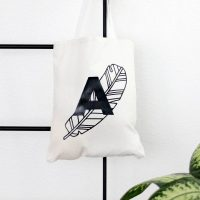 DIY Line Art Tote Bag with monogram