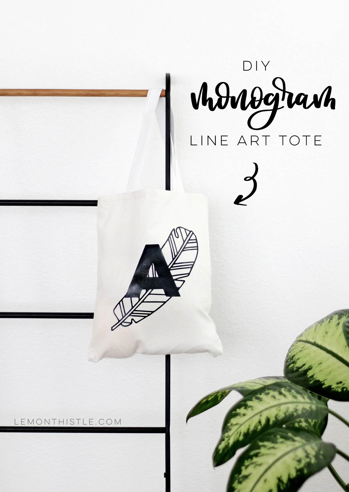 Text overlay: DIY Monogram Line Art Tote Bag