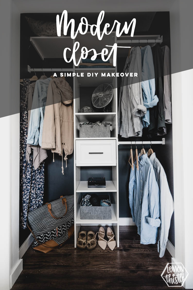 text overlay reads: Modern Closet- simple diy makeover with black and white details