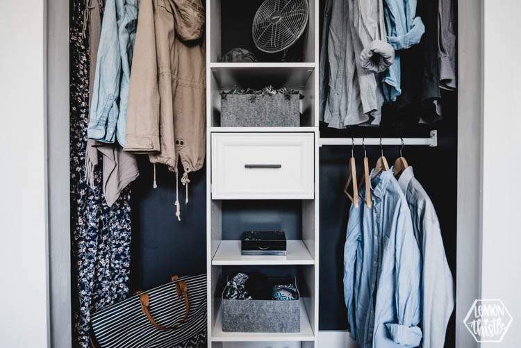 Modern Closet  Simple Diy Makeover With Black And White Details