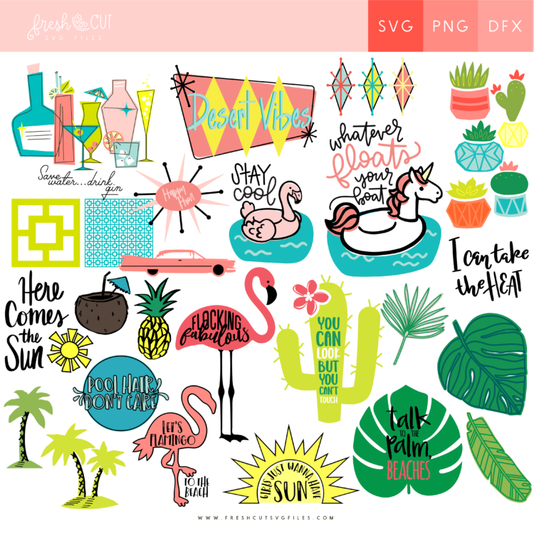 Palm Springs Themed Fresh Cut SVG Bundle