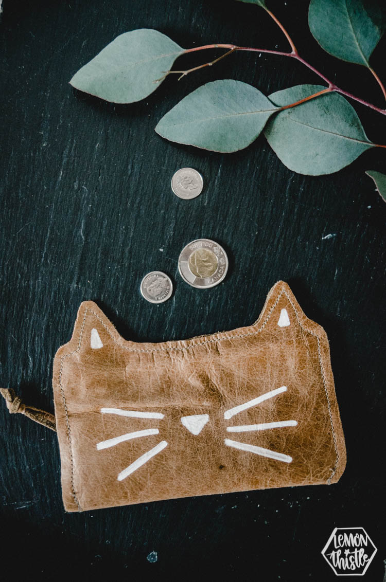 DIY Leather cat pouch