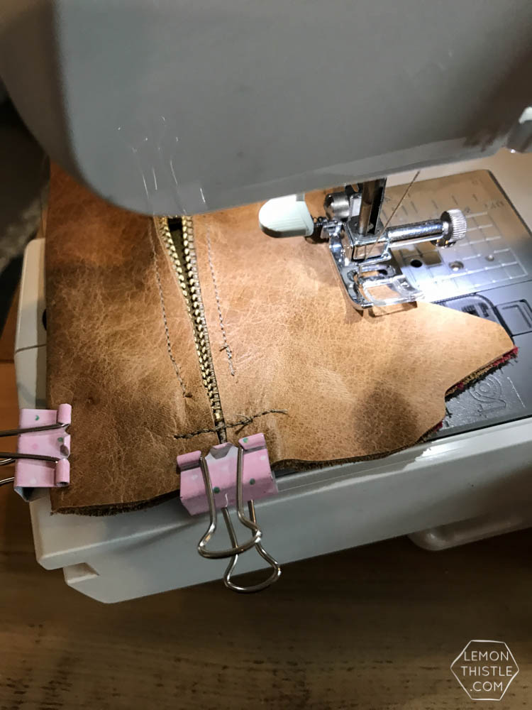 Use binder clips instead of pins- diy leather cat pouch