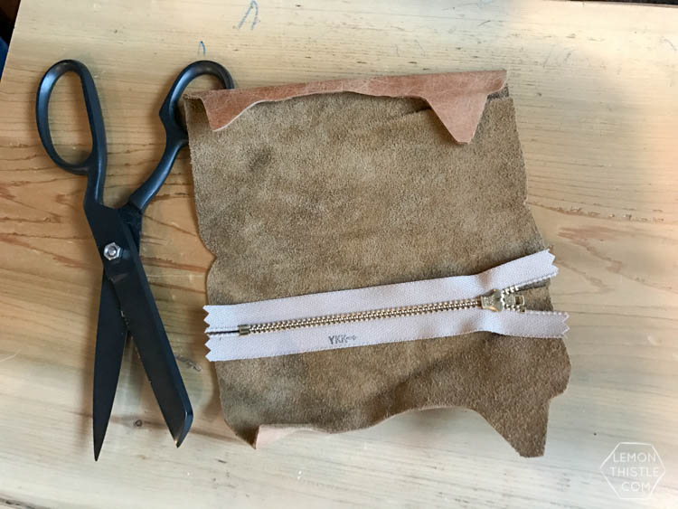 sewing the zipper- DIY Leather cat pouch