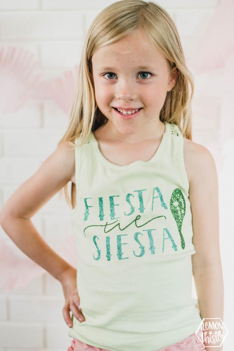 Fiesta til Siesta DIY tee with glitter heat transfer vinyl