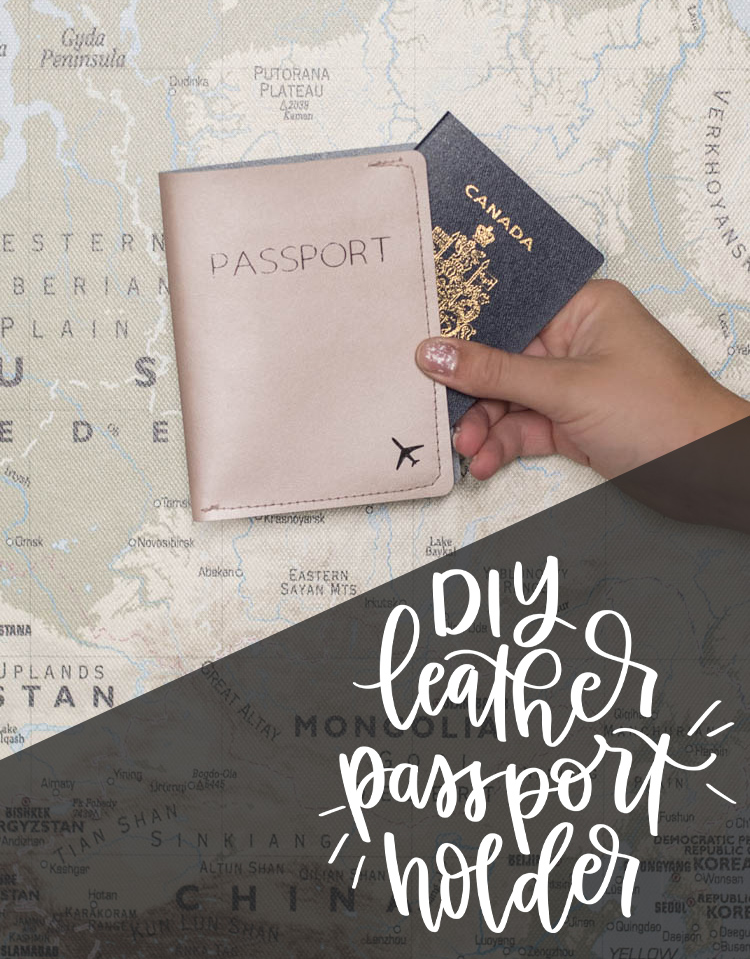 DIY leather passport holder- photo with text overlay