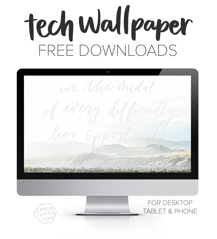 So many great tech wallpapers here! Hand lettered quotes and calendars every month!