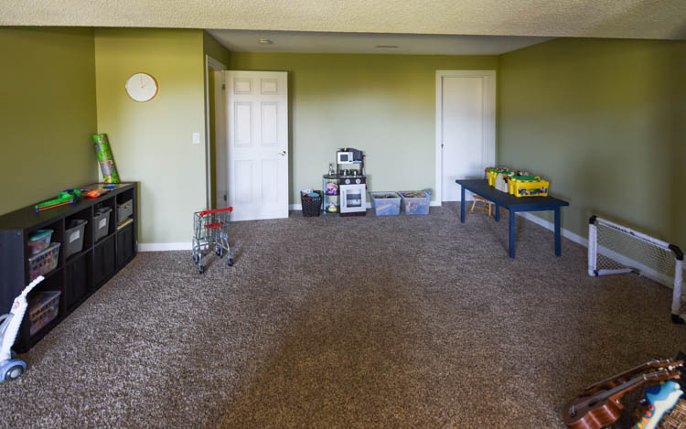 Basement Playroom Before Photos