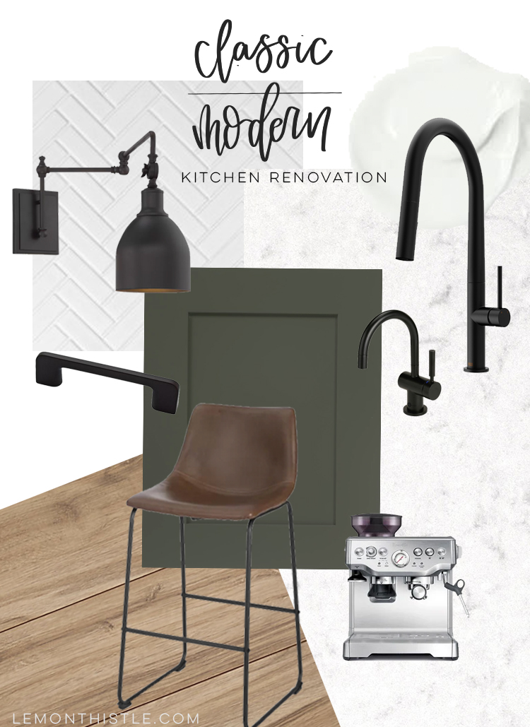 Classic Modern Kitchen Design Board with text overlay