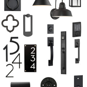 Modern Black Hardware for your exterior- collage image with text overlay
