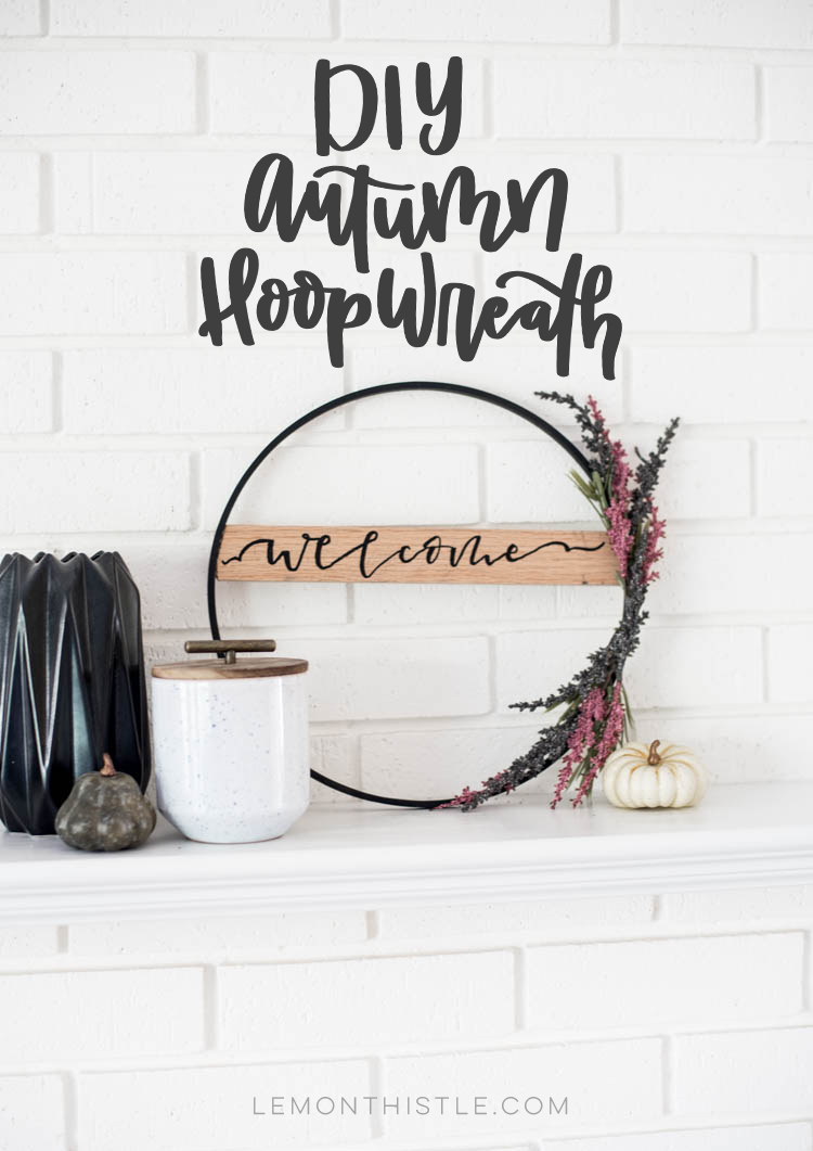 DIY Fall Hoop Wreath with wooden welcome sign